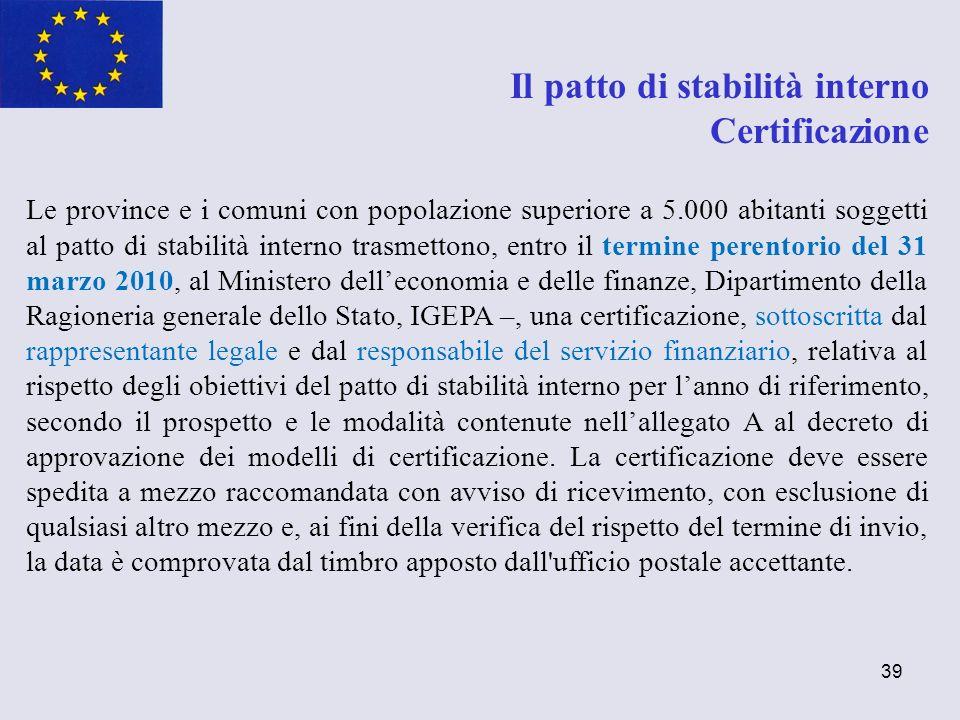 39 Il patto di stabilità interno Certificazione Le province e i comuni con popolazione superiore a 5.000 abitanti soggetti al patto di stabilità inter