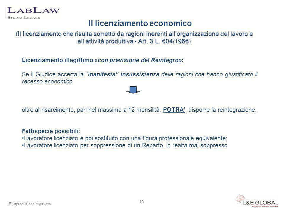 Il licenziamento economico 10 © Riproduzione riservata Il licenziamento che risulta sorretto da ragioni inerenti allorganizzazione del lavoro e allatt