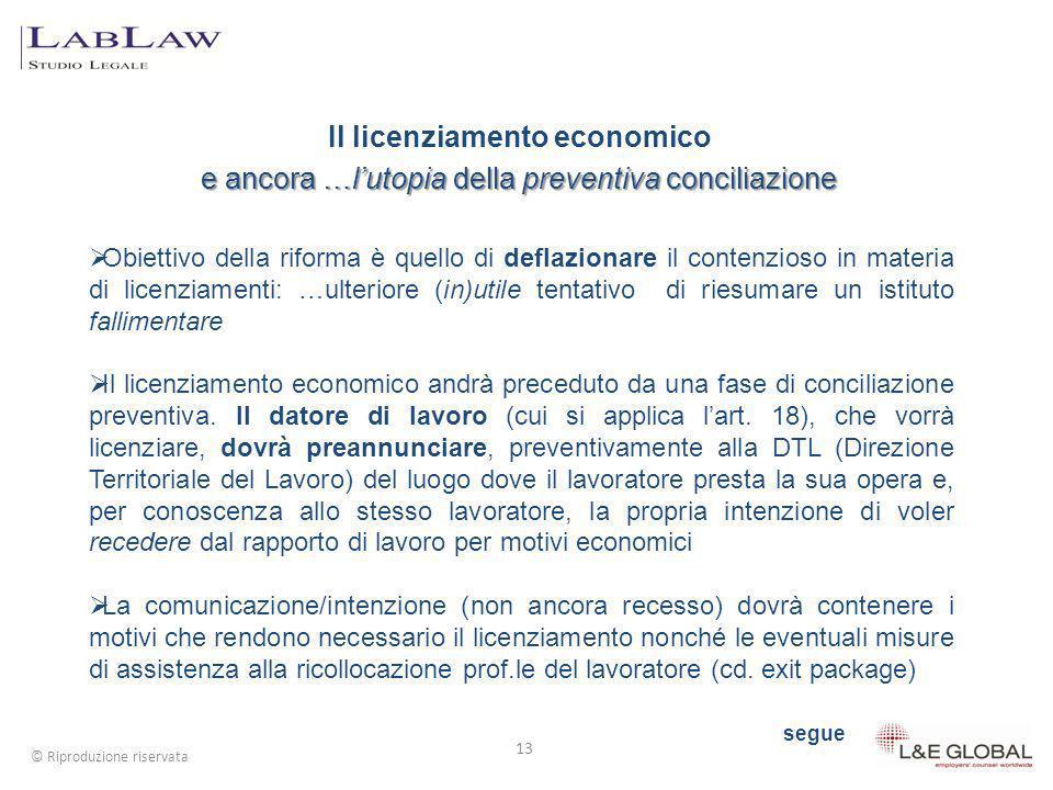 Il licenziamento economico e ancora …lutopia della preventiva conciliazione 13 © Riproduzione riservata Obiettivo della riforma è quello di deflaziona