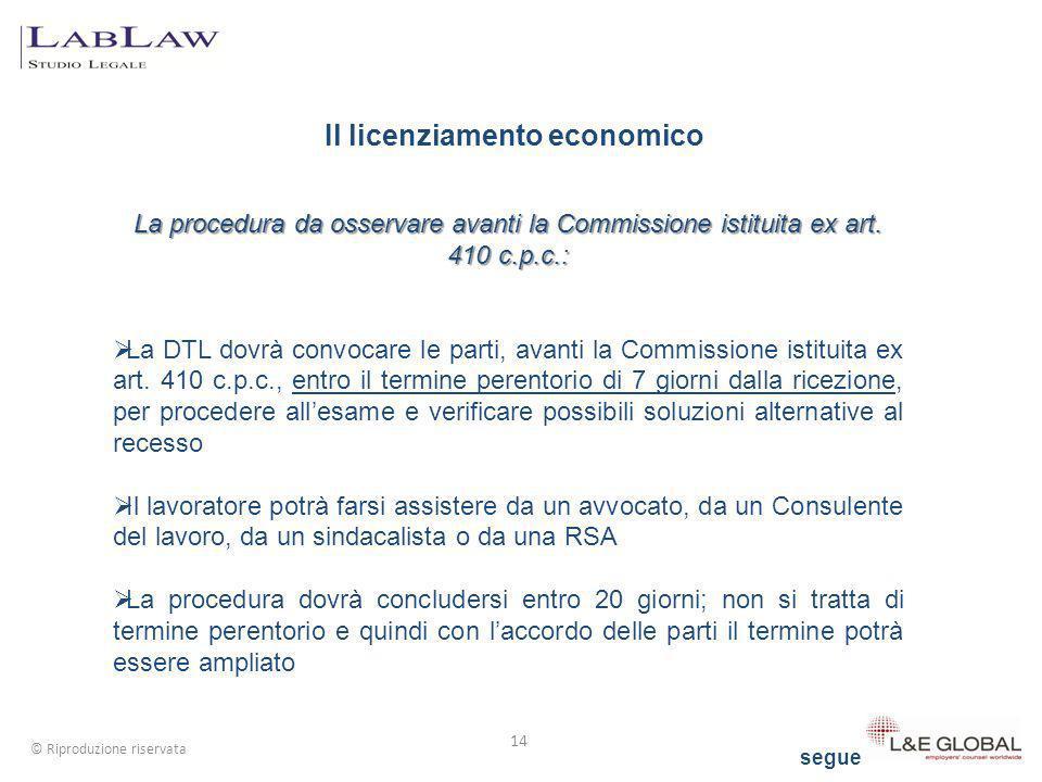 Il licenziamento economico 14 © Riproduzione riservata La procedura da osservare avanti la Commissione istituita ex art. 410 c.p.c.: La DTL dovrà conv