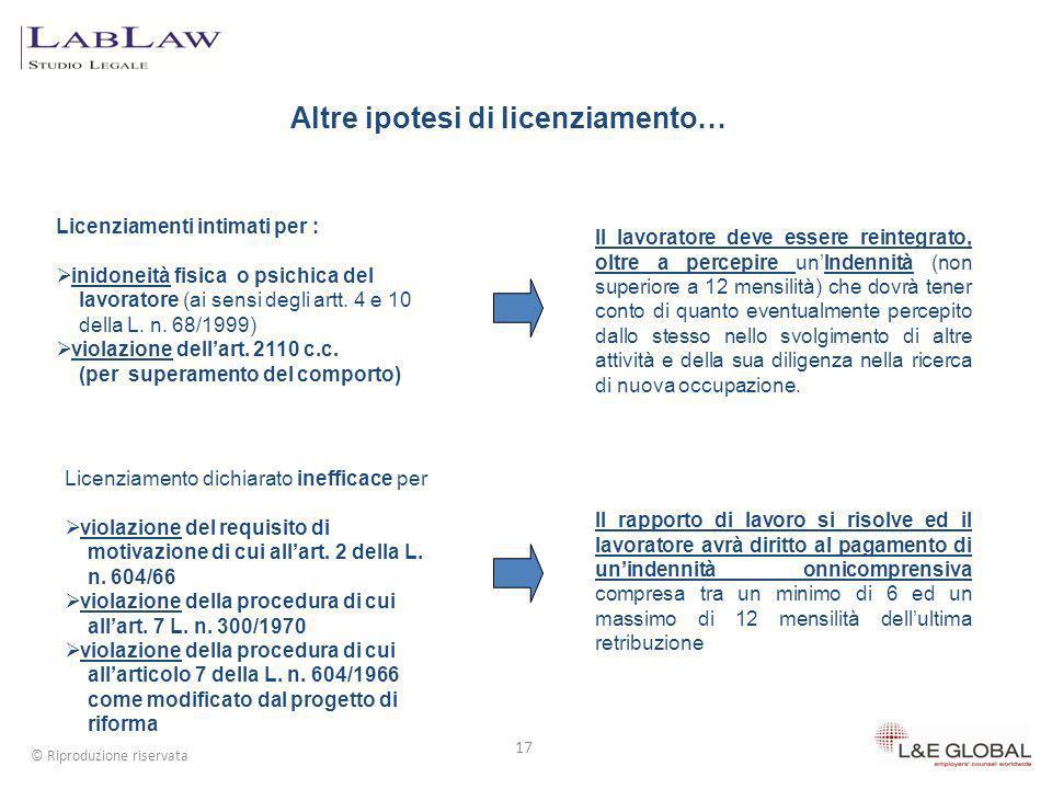 17 © Riproduzione riservata Il lavoratore deve essere reintegrato, oltre a percepire unIndennità (non superiore a 12 mensilità) che dovrà tener conto