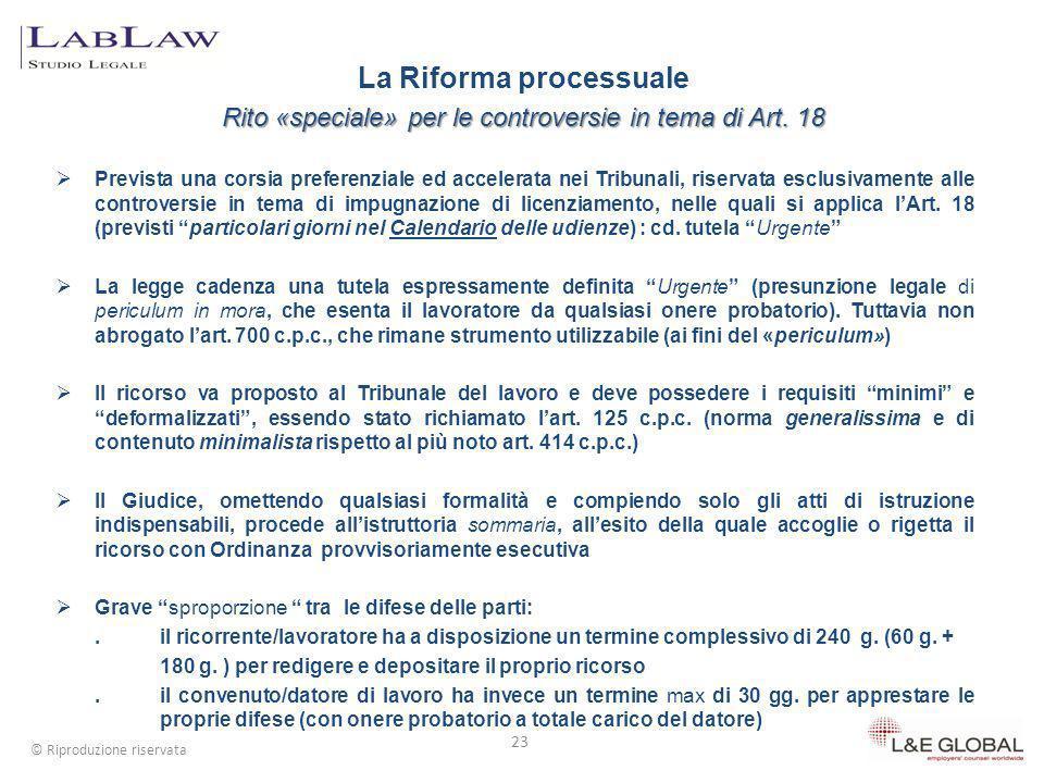 Il ricorso depositato in Tribunale può avere ad oggetto esclusivamente limpugnativa dei licenziamenti (Art.