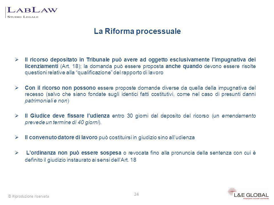 Il ricorso depositato in Tribunale può avere ad oggetto esclusivamente limpugnativa dei licenziamenti (Art. 18); la domanda può essere proposta anche