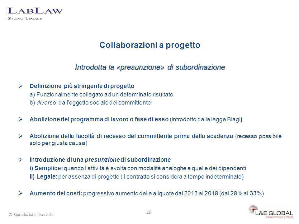 Collaborazioni a progetto Introdotta la «presunzione» di subordinazione Definizione più stringente di progetto a) Funzionalmente collegato ad un deter