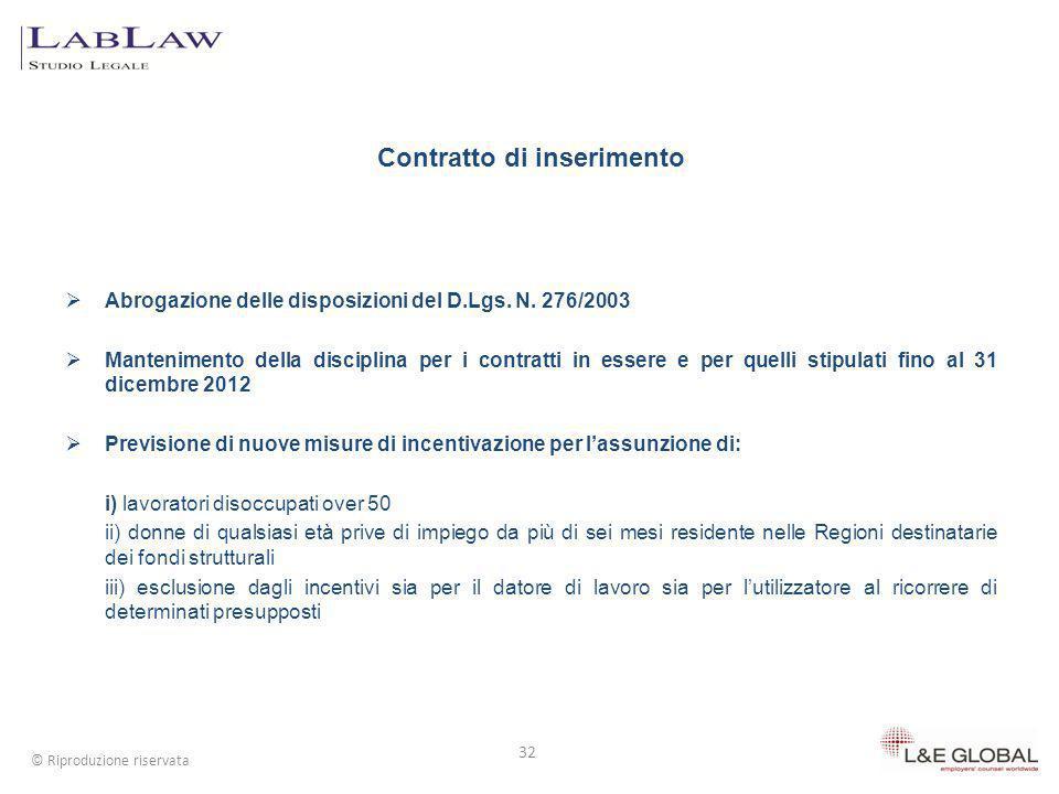 Contratto di inserimento Abrogazione delle disposizioni del D.Lgs. N. 276/2003 Mantenimento della disciplina per i contratti in essere e per quelli st