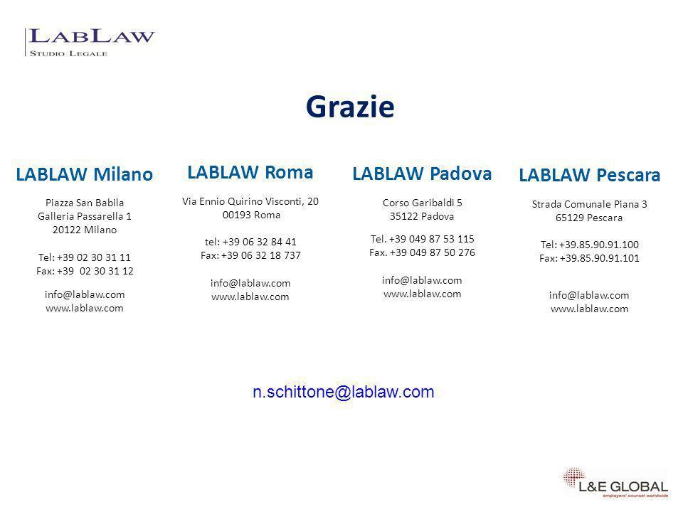 Grazie 37 n.schittone@lablaw.com LABLAW Milano Piazza San Babila Galleria Passarella 1 20122 Milano Tel: +39 02 30 31 11 Fax: +39 02 30 31 12 info@lab