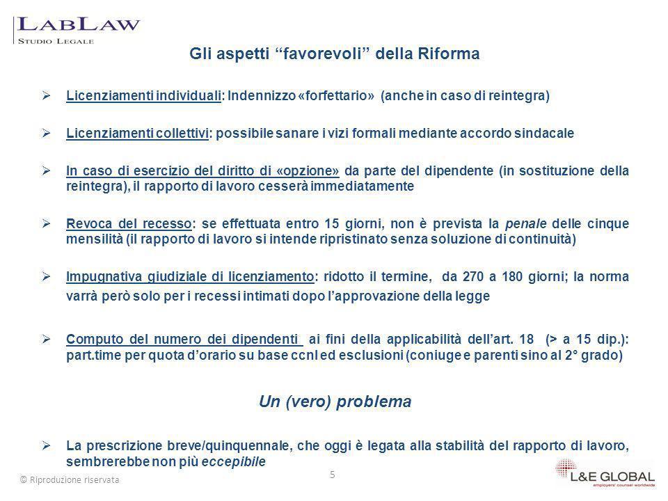 Gli aspetti favorevoli della Riforma Licenziamenti individuali: Indennizzo «forfettario» (anche in caso di reintegra) Licenziamenti collettivi: possib