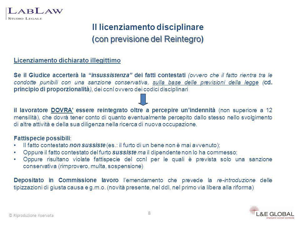 Il licenziamento disciplinare con previsione del Reintegro (con previsione del Reintegro) 8 © Riproduzione riservata Licenziamento dichiarato illegitt