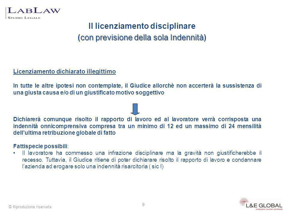 Il licenziamento disciplinare con previsione della sola Indennità (con previsione della sola Indennità) 9 © Riproduzione riservata Licenziamento dichi