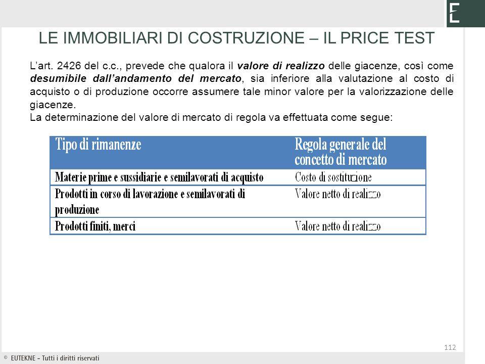112 LE IMMOBILIARI DI COSTRUZIONE – IL PRICE TEST Lart. 2426 del c.c., prevede che qualora il valore di realizzo delle giacenze, così come desumibile