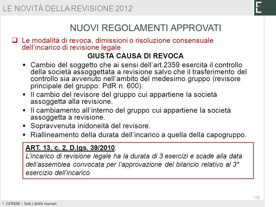 Le modalità di revoca, dimissioni o risoluzione consensuale dellincarico di revisione legale GIUSTA CAUSA DI REVOCA Cambio del soggetto che ai sensi d