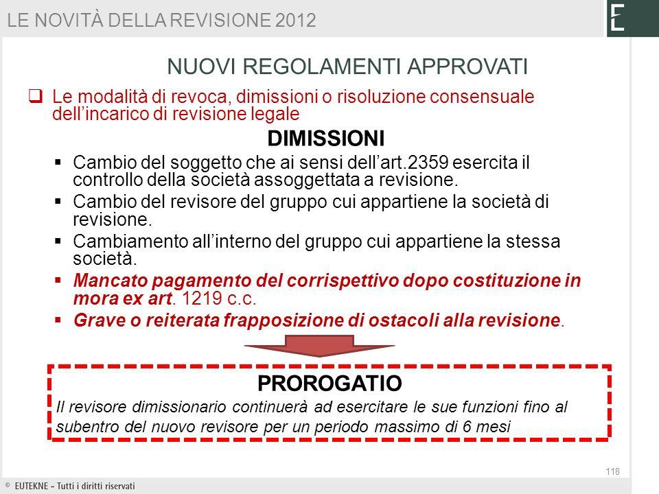 Le modalità di revoca, dimissioni o risoluzione consensuale dellincarico di revisione legale DIMISSIONI Cambio del soggetto che ai sensi dellart.2359