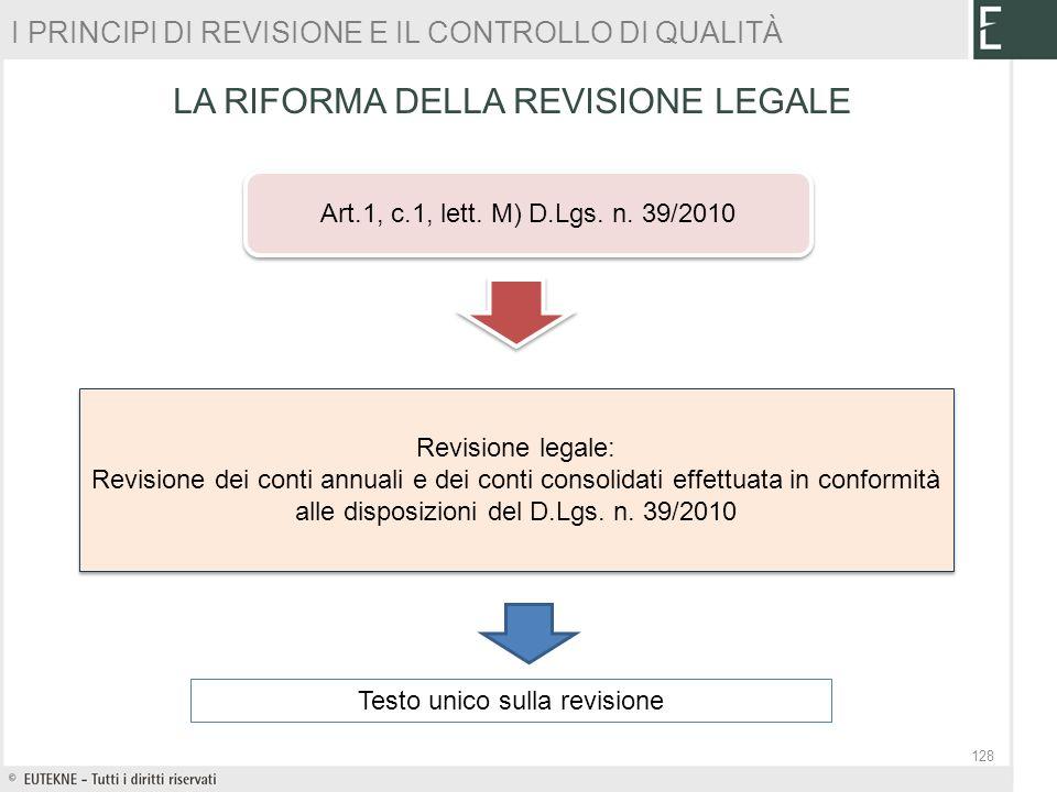 Art.1, c.1, lett. M) D.Lgs. n. 39/2010 Revisione legale: Revisione dei conti annuali e dei conti consolidati effettuata in conformità alle disposizion