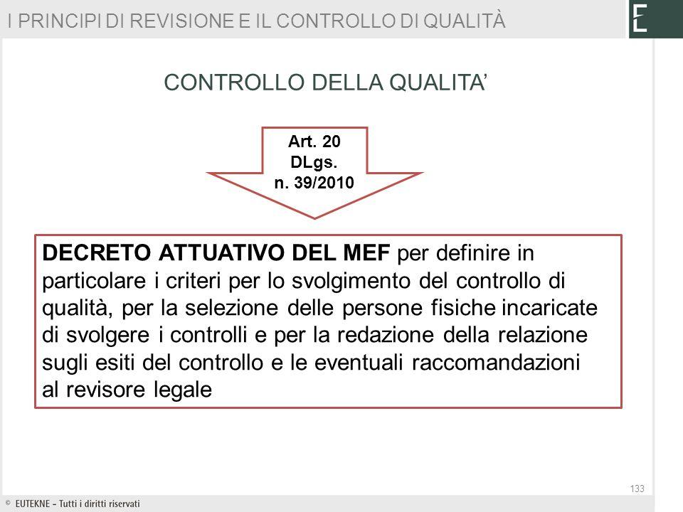 CONTROLLO DELLA QUALITA Art. 20 DLgs. n. 39/2010 DECRETO ATTUATIVO DEL MEF per definire in particolare i criteri per lo svolgimento del controllo di q