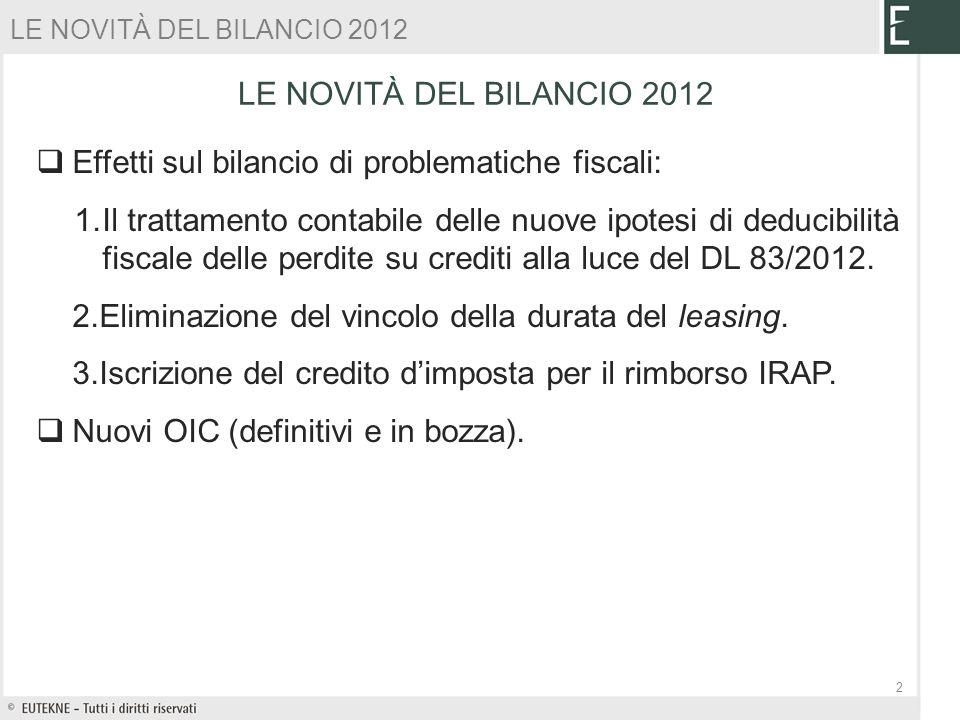 LE NOVITÀ DEL BILANCIO 2012 Effetti sul bilancio di problematiche fiscali: 1.Il trattamento contabile delle nuove ipotesi di deducibilità fiscale dell