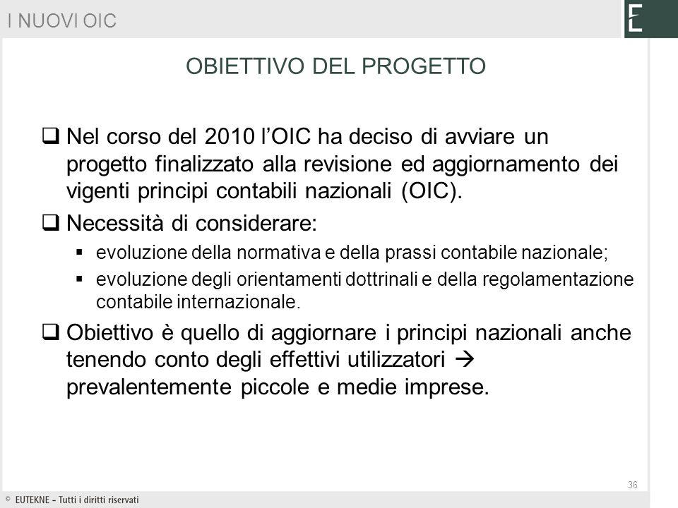 Nel corso del 2010 lOIC ha deciso di avviare un progetto finalizzato alla revisione ed aggiornamento dei vigenti principi contabili nazionali (OIC). N