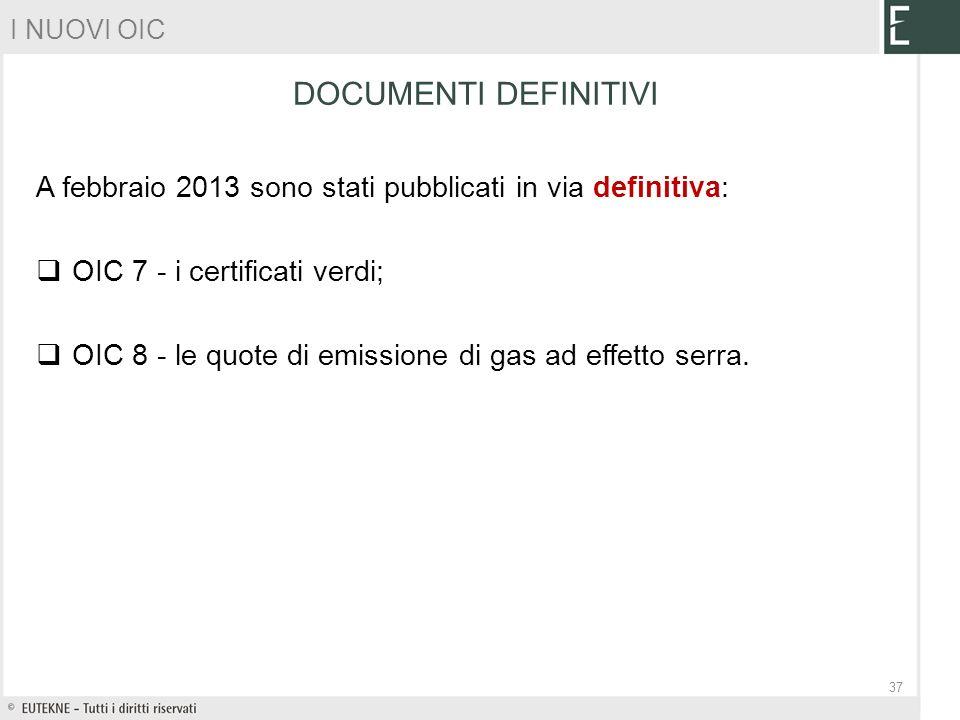 A febbraio 2013 sono stati pubblicati in via definitiva: OIC 7 - i certificati verdi; OIC 8 - le quote di emissione di gas ad effetto serra. DOCUMENTI