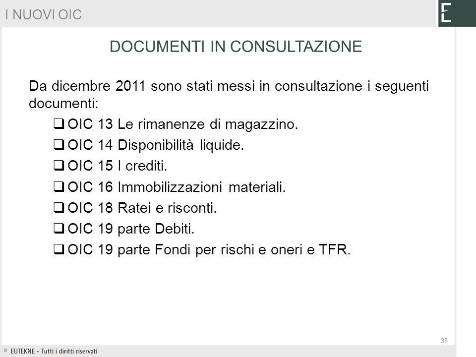 Da dicembre 2011 sono stati messi in consultazione i seguenti documenti: OIC 13 Le rimanenze di magazzino. OIC 14 Disponibilità liquide. OIC 15 I cred
