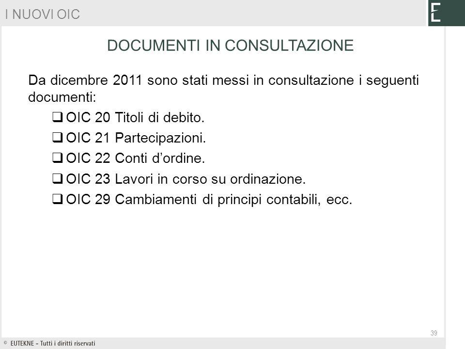 Da dicembre 2011 sono stati messi in consultazione i seguenti documenti: OIC 20 Titoli di debito. OIC 21 Partecipazioni. OIC 22 Conti dordine. OIC 23