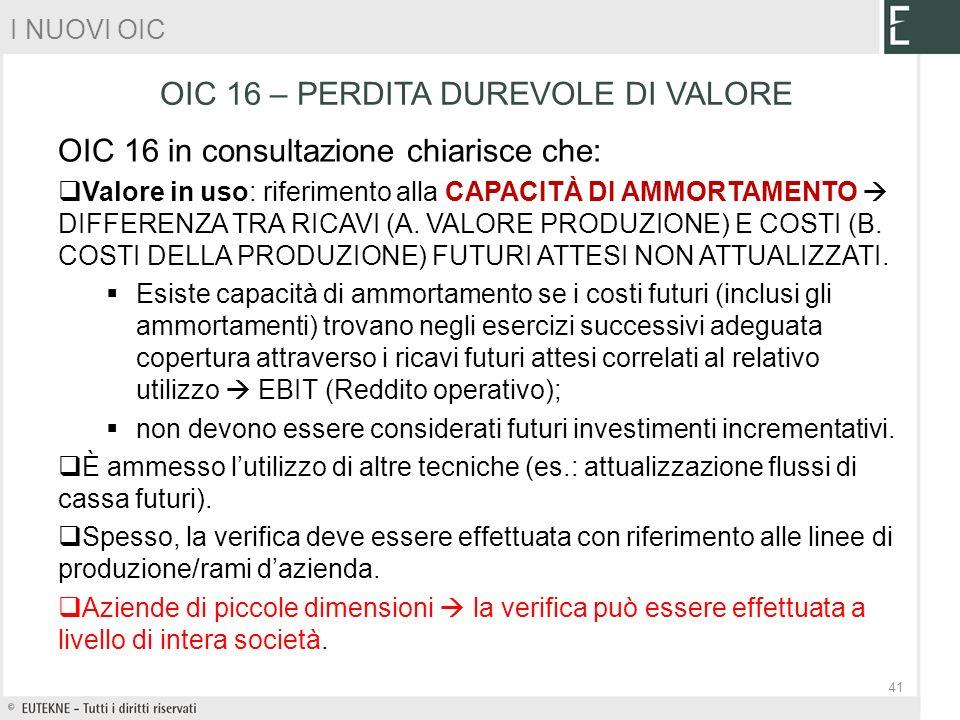 OIC 16 in consultazione chiarisce che: Valore in uso: riferimento alla CAPACITÀ DI AMMORTAMENTO DIFFERENZA TRA RICAVI (A. VALORE PRODUZIONE) E COSTI (