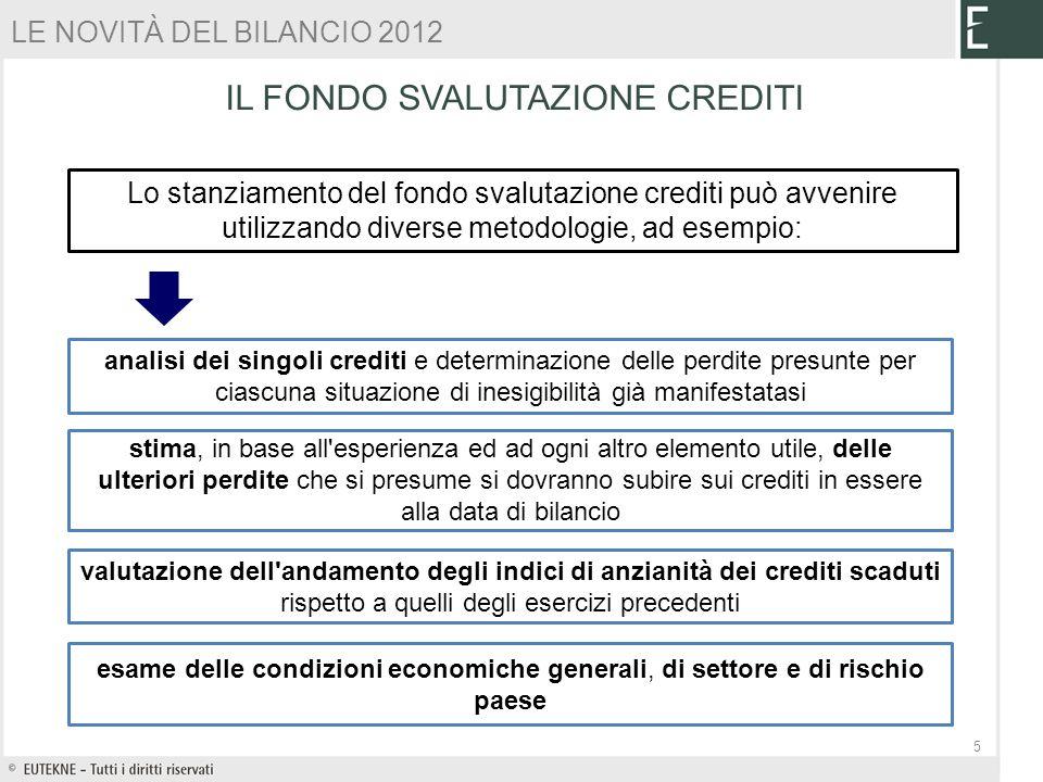 Lo stanziamento del fondo svalutazione crediti può avvenire utilizzando diverse metodologie, ad esempio: analisi dei singoli crediti e determinazione
