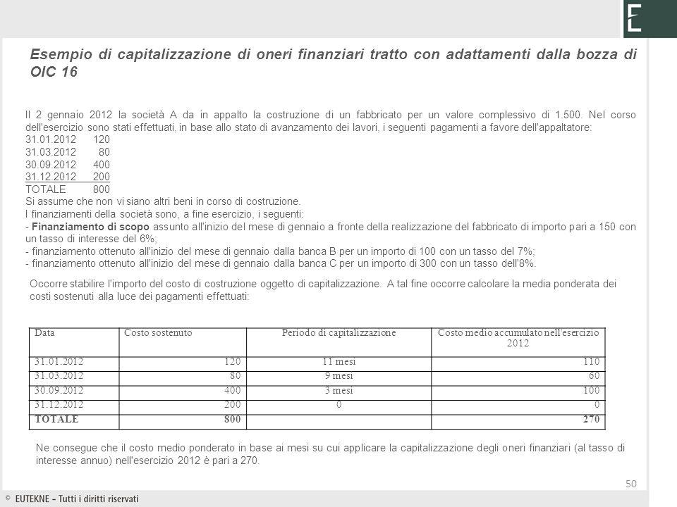50 Esempio di capitalizzazione di oneri finanziari tratto con adattamenti dalla bozza di OIC 16 Il 2 gennaio 2012 la società A da in appalto la costru