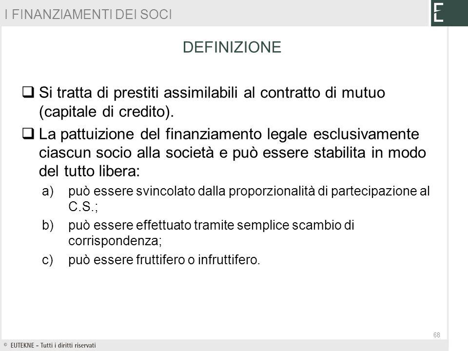 Si tratta di prestiti assimilabili al contratto di mutuo (capitale di credito). La pattuizione del finanziamento legale esclusivamente ciascun socio a