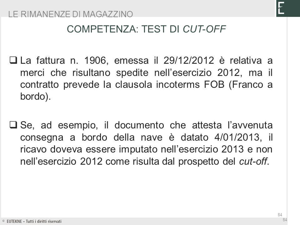 La fattura n. 1906, emessa il 29/12/2012 è relativa a merci che risultano spedite nellesercizio 2012, ma il contratto prevede la clausola incoterms FO