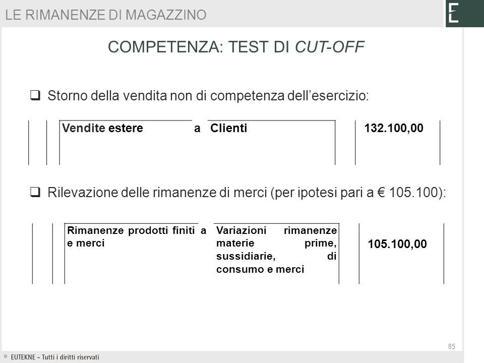 Storno della vendita non di competenza dellesercizio: Rilevazione delle rimanenze di merci (per ipotesi pari a 105.100): 85 Vendite estereaClienti 132