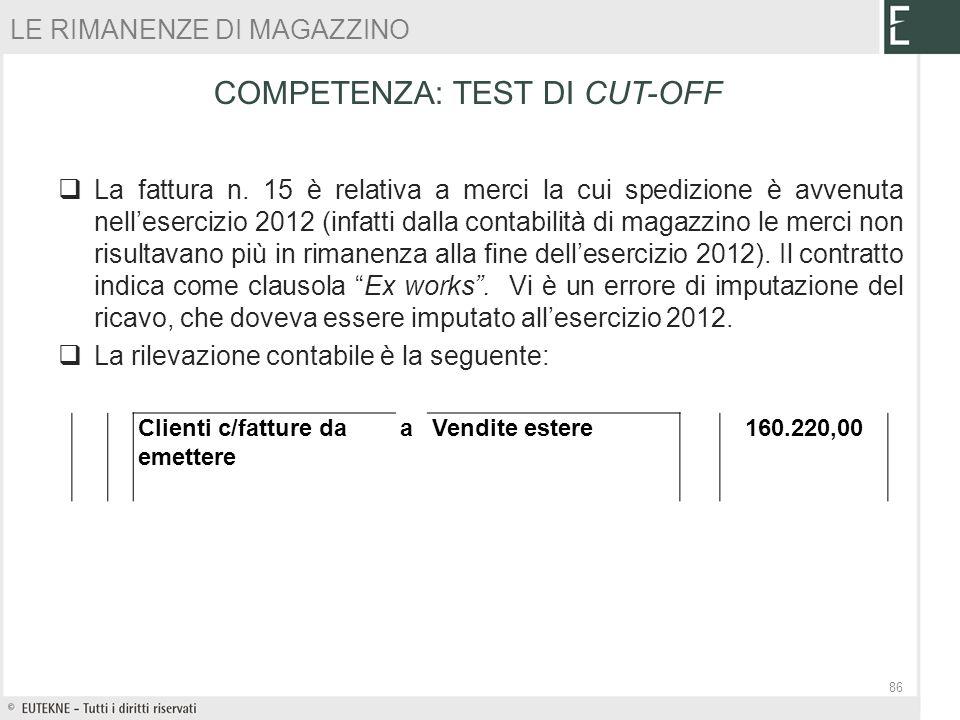 La fattura n. 15 è relativa a merci la cui spedizione è avvenuta nellesercizio 2012 (infatti dalla contabilità di magazzino le merci non risultavano p