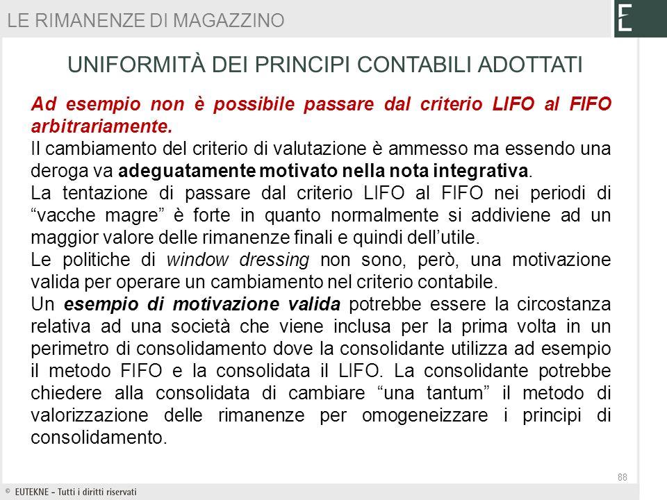 Ad esempio non è possibile passare dal criterio LIFO al FIFO arbitrariamente. Il cambiamento del criterio di valutazione è ammesso ma essendo una dero