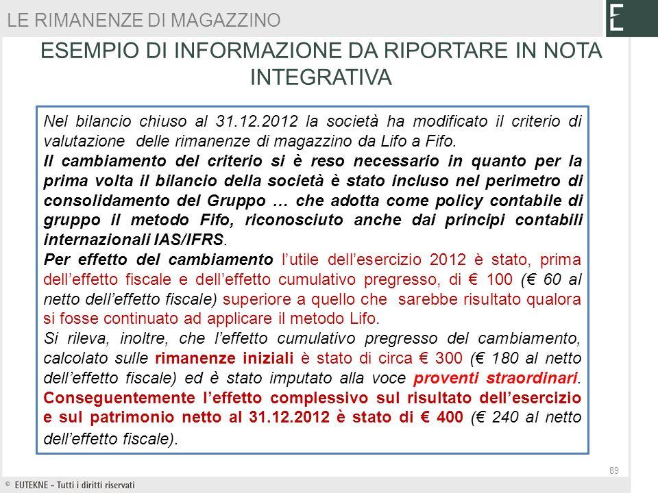 Nel bilancio chiuso al 31.12.2012 la società ha modificato il criterio di valutazione delle rimanenze di magazzino da Lifo a Fifo. Il cambiamento del