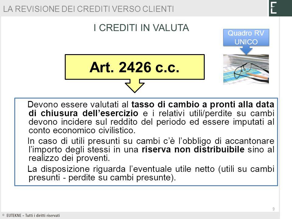 PROBLEMATICHE FISCALI 10 Crediti verso clienti Fonte normativa Art.