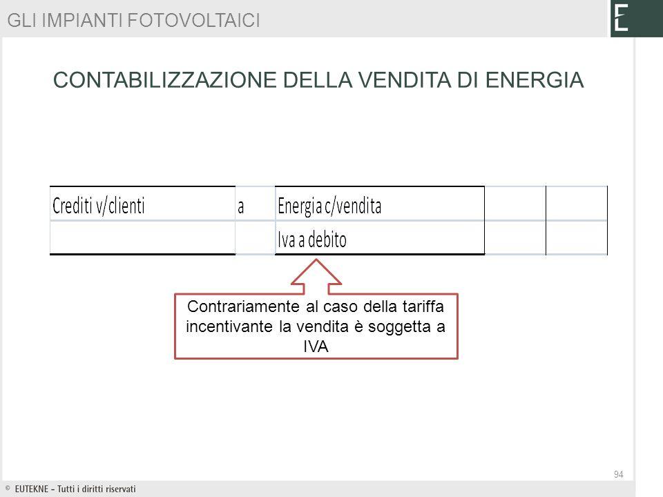 Contrariamente al caso della tariffa incentivante la vendita è soggetta a IVA GLI IMPIANTI FOTOVOLTAICI CONTABILIZZAZIONE DELLA VENDITA DI ENERGIA 94