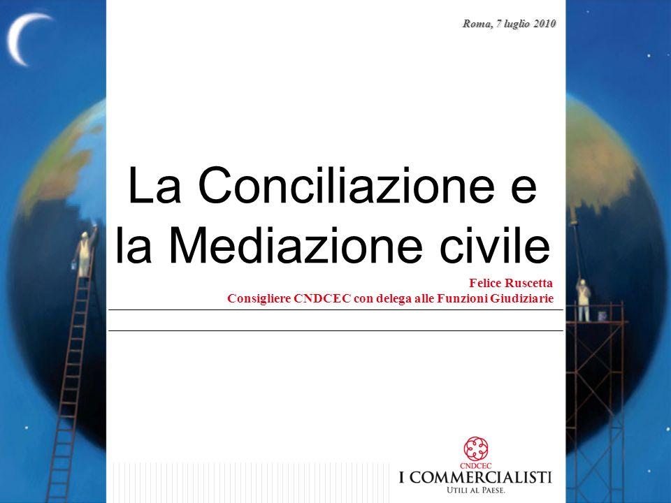 La Conciliazione e la Mediazione civile Felice Ruscetta Consigliere CNDCEC con delega alle Funzioni Giudiziarie Roma, 7 luglio 2010