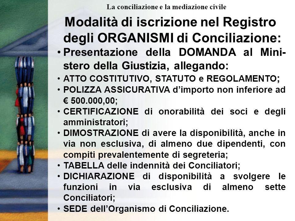 Modalità di iscrizione nel Registro degli ORGANISMI di Conciliazione: Presentazione della DOMANDA al Mini- stero della Giustizia, allegando: ATTO COSTITUTIVO, STATUTO e REGOLAMENTO ; POLIZZA ASSICURATIVA dimporto non inferiore ad 500.000,00; CERTIFICAZIONE di onorabilità dei soci e degli amministratori; DIMOSTRAZIONE di avere la disponibilità, anche in via non esclusiva, di almeno due dipendenti, con compiti prevalentemente di segreteria; TABELLA delle indennità dei Conciliatori; DICHIARAZIONE di disponibilità a svolgere le funzioni in via esclusiva di almeno sette Conciliatori; SEDE dellOrganismo di Conciliazione.