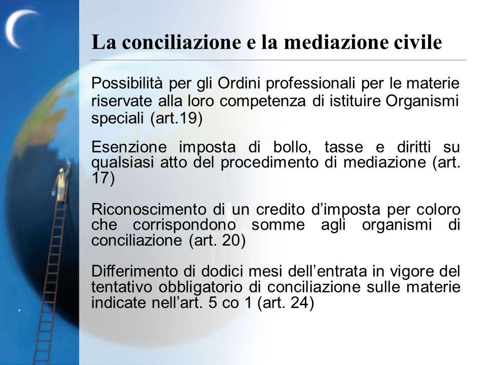 Possibilità per gli Ordini professionali per le materie riservate alla loro competenza di istituire Organismi speciali (art.19) Esenzione imposta di bollo, tasse e diritti su qualsiasi atto del procedimento di mediazione (art.