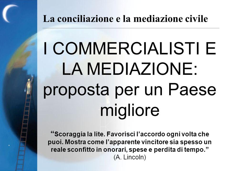 La conciliazione e la mediazione civile I COMMERCIALISTI E LA MEDIAZIONE: proposta per un Paese migliore Scoraggia la lite. Favorisci laccordo ogni vo