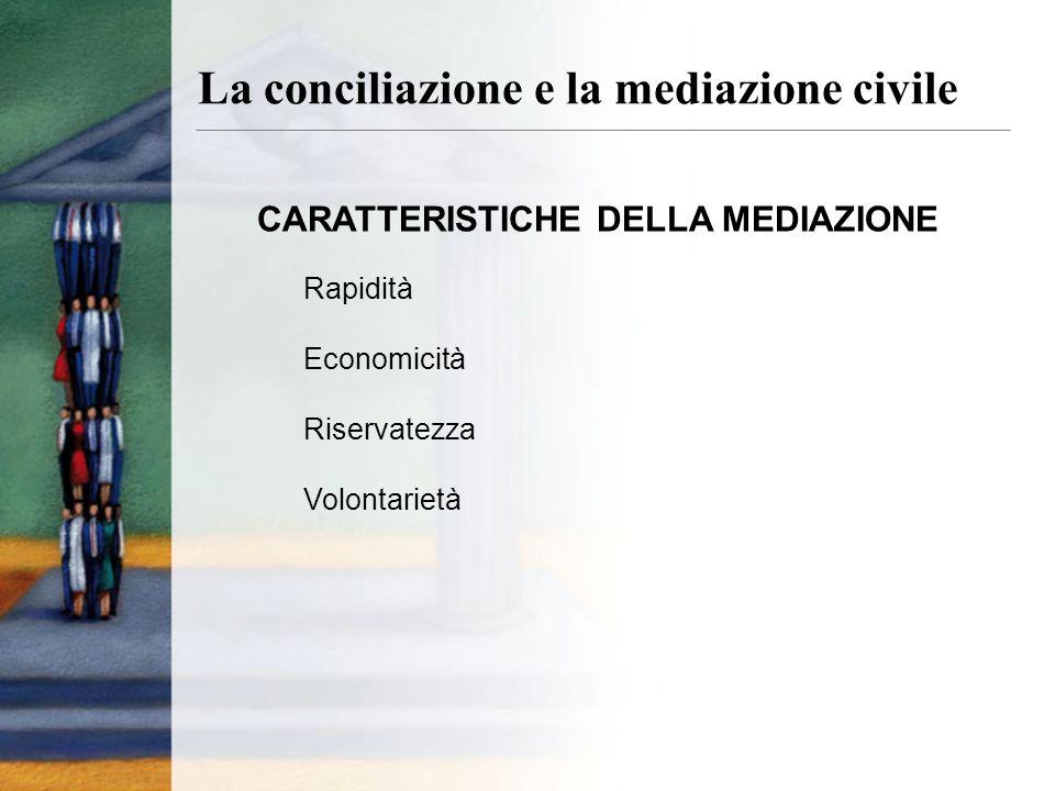 CARATTERISTICHE DELLA MEDIAZIONE Rapidità Economicità Riservatezza Volontarietà La conciliazione e la mediazione civile