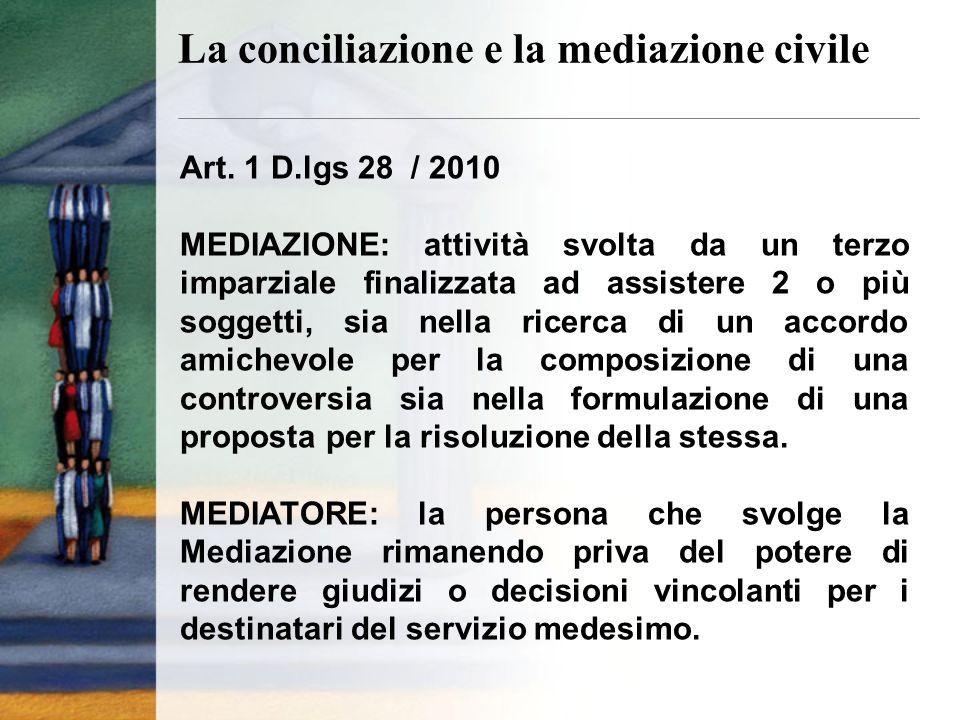 Art. 1 D.lgs 28 / 2010 MEDIAZIONE: attività svolta da un terzo imparziale finalizzata ad assistere 2 o più soggetti, sia nella ricerca di un accordo a