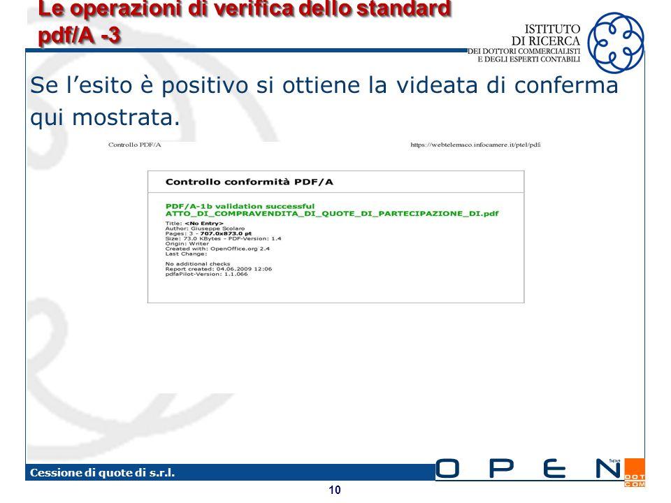 10 Cessione di quote di s.r.l. Le operazioni di verifica dello standard pdf/A -3 Se lesito è positivo si ottiene la videata di conferma qui mostrata.