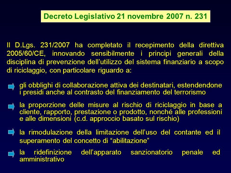 Decreto Legislativo 21 novembre 2007 n.231 Il D.Lgs.