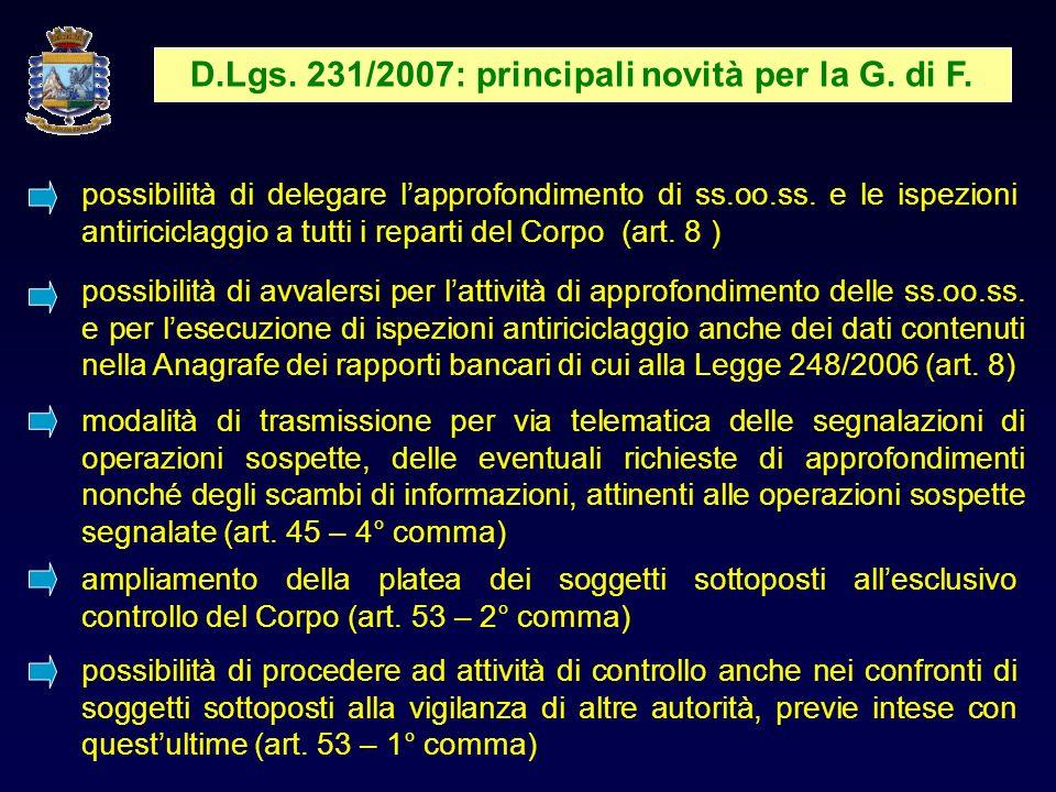 D.Lgs.231/2007: principali novità per la G. di F.