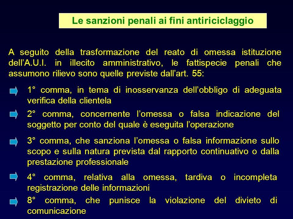 Le sanzioni penali ai fini antiriciclaggio A seguito della trasformazione del reato di omessa istituzione dellA.U.I.