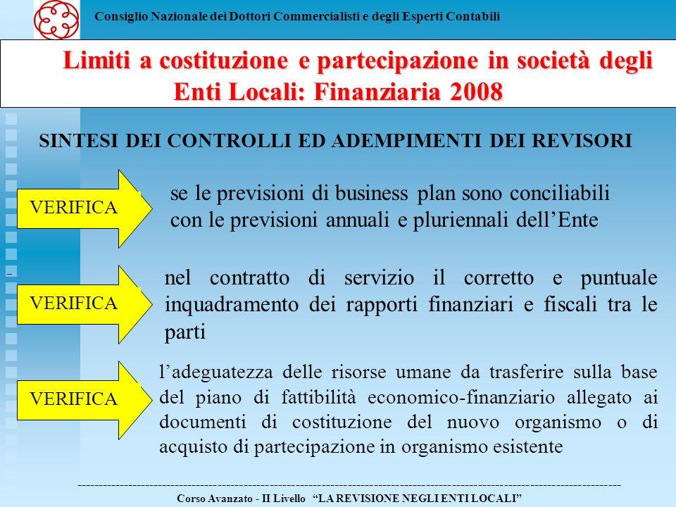 Consiglio Nazionale dei Dottori Commercialisti e degli Esperti Contabili Limiti a costituzione e partecipazione in società degli Enti Locali: Finanziaria 2008 Limiti a costituzione e partecipazione in società degli Enti Locali: Finanziaria 2008 ------------------------------------------------------------------------------------------------------------------------------ Corso Avanzato - II Livello LA REVISIONE NEGLI ENTI LOCALI SINTESI DEI CONTROLLI ED ADEMPIMENTI DEI REVISORI ladeguatezza e compatibilità di bilancio delle risorse finanziarie e strumentali da trasferire sulla base del piano di fattibilità economico-finanziario allegato ai documenti di costituzione del nuovo organismo o di acquisto di partecipazione in organismo esistente VERIFICA leffettivo trasferimento del personale allorganismo partecipato
