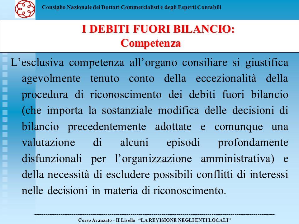 Consiglio Nazionale dei Dottori Commercialisti e degli Esperti Contabili E controversa la natura della deliberazione da adottare da parte del consiglio per il riconoscimento del debito fuori bilancio.