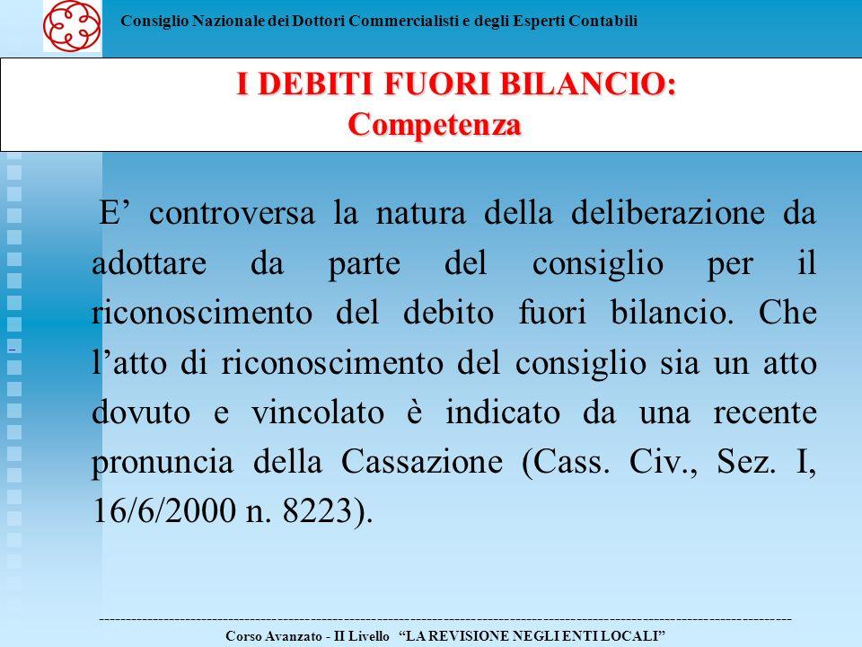 Consiglio Nazionale dei Dottori Commercialisti e degli Esperti Contabili La deliberazione consiliare di riconoscimento del debito fuori bilancio va allegata in copia al rendiconto della gestione in corso ai sensi dellarticolo 193, comma 2, del D.Lgs.267/2000.