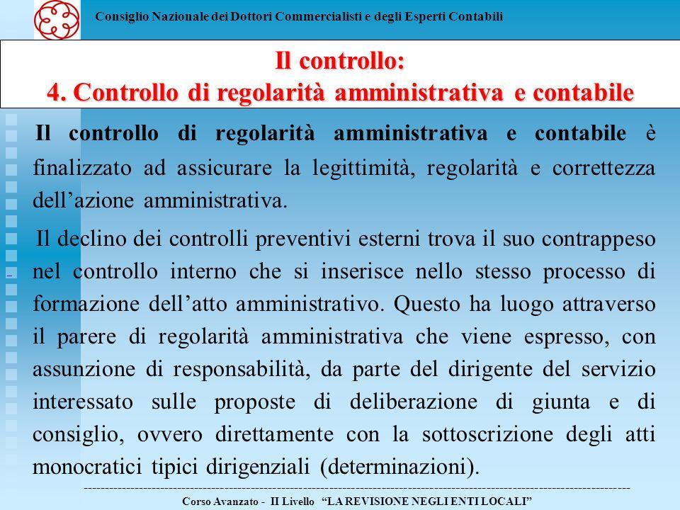 Consiglio Nazionale dei Dottori Commercialisti e degli Esperti Contabili Il controllo: 4.