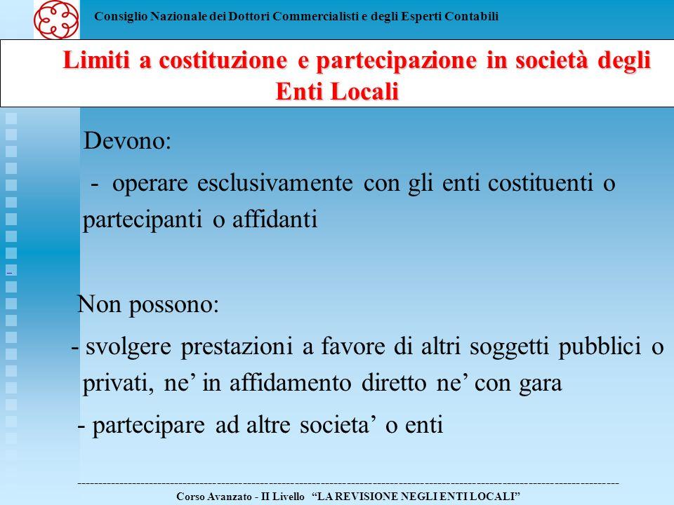 Consiglio Nazionale dei Dottori Commercialisti e degli Esperti Contabili Limiti a costituzione e partecipazione in società degli Enti Locali Limiti a costituzione e partecipazione in società degli Enti Locali ------------------------------------------------------------------------------------------------------------------------------ Corso Avanzato - II Livello LA REVISIONE NEGLI ENTI LOCALI Lo stesso articolo prevede che lOrgano di Revisione dellEnte Locale debba procedere: - alla ricognizione delle societa partecipate dallente locale e loro qualificazione; - alla verifica delle condizioni di ammissibilita delle attivita svolte; - alla segnalazione delle societa o attivita da dismettere.