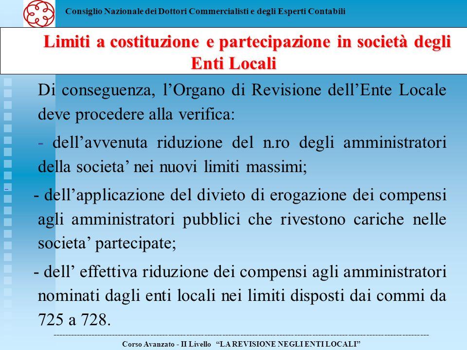 Consiglio Nazionale dei Dottori Commercialisti e degli Esperti Contabili Limiti a costituzione e partecipazione in società degli Enti Locali Limiti a costituzione e partecipazione in società degli Enti Locali ------------------------------------------------------------------------------------------------------------------------------ Corso Avanzato - II Livello LA REVISIONE NEGLI ENTI LOCALI La Finanziaria 2008 allart.